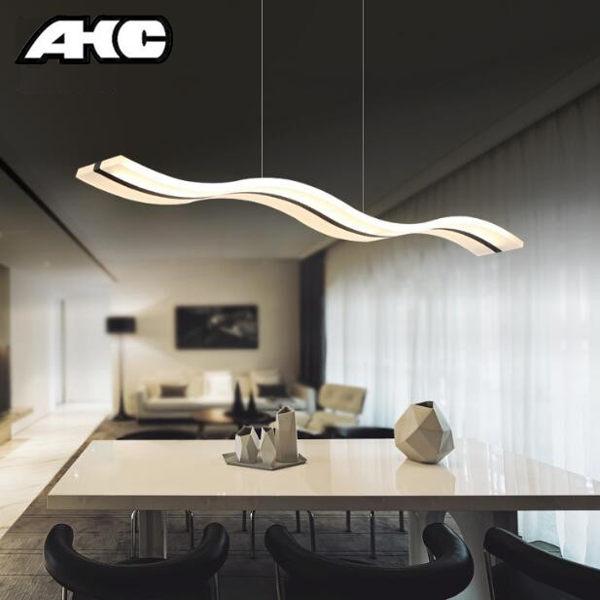 現代簡約個性長條LED魚線吧台吊燈壓克力餐廳時尚創意辦公室吊燈