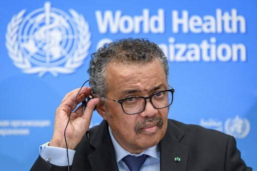 World Health Organization (WHO) Director-General Tedros Adhanom Ghebreyesus gives a press conference on the situation regarding the COVID-19 at Geneva's WHO headquarters on Feb. 24, 2020.