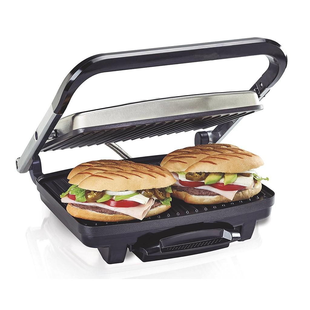 "Hamilton Beach(25410)Panini Press,Sandwich Maker&Grill,Electric,95""烹飪表面,不銹鋼無盡的可能性:由於咖啡館式浮動蓋子,可以均勻地烤三"
