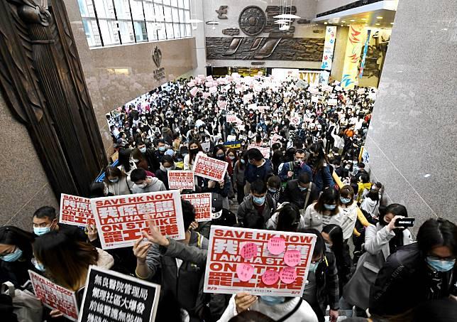 醫管局員工陣線本月初曾發起罷工。資料圖片