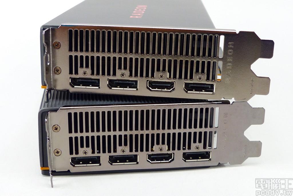 Radeon RX 5700 和 Radeon RX 5700 XT 視訊輸出埠採用相同配置,選用 3 個 DisplayPort 1.4 和 HDMI 2.0,沒有 DVI-D 以便最大化廢熱出風口。