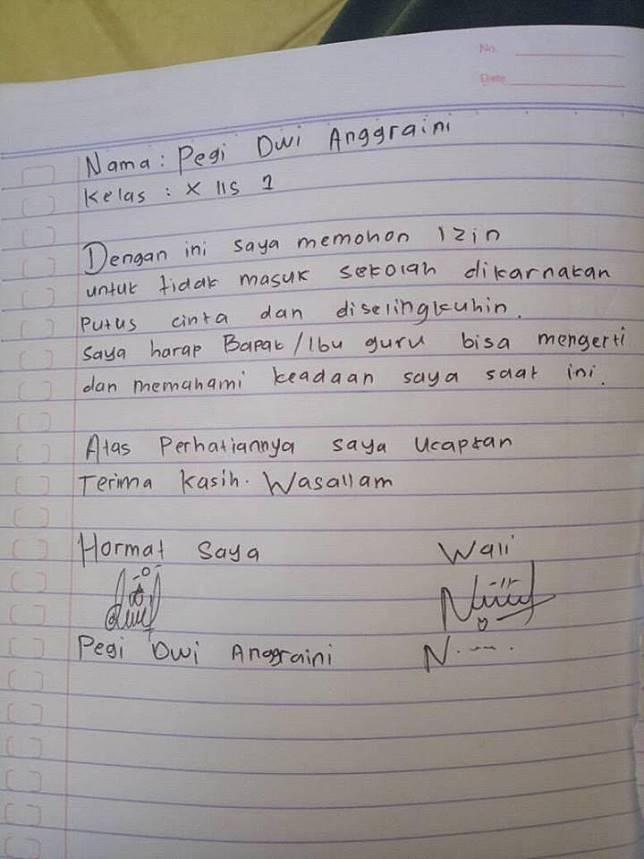 8 Surat Izin Tak Masuk Sekolah Ini Isinya Bikin Ketawa Ngakak