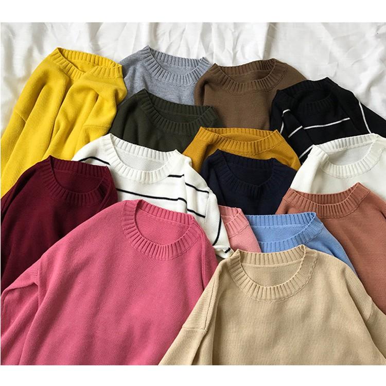 【現貨】MYJ實拍多色可選-秋冬新款條紋圓領長袖針織衫女生衣著顯瘦素色套頭毛衣打底衫針織毛線寬鬆上衣