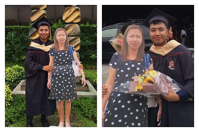 ▲菲律賓一位畢業男大生,帶著過世媽媽的真人大小看板,在畢業典禮上合照,讓網友感動不已。(圖/翻攝自 Paulo John 的推特)