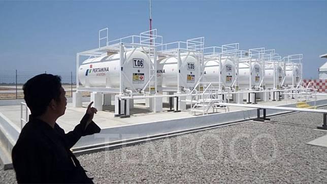 Fasilitas 6 tangki modular dengan kapasitas masing-masing 23 Kiloliter (KL) di bandara YIA. TEMPO/Muh Syaifullah