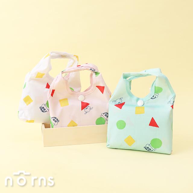 日貨折疊式環保購物袋 蠟筆小新幾何圖形- Norns 日本正版授權 手提袋 側背包 環保袋