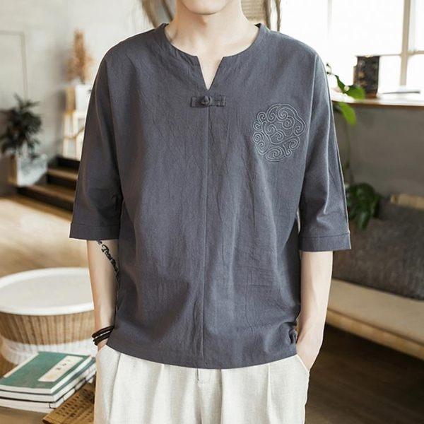 唐裝 亞麻短袖男T恤夏季薄V領棉麻上衣男裝潮流寬鬆大碼胖子半袖 - 古梵希
