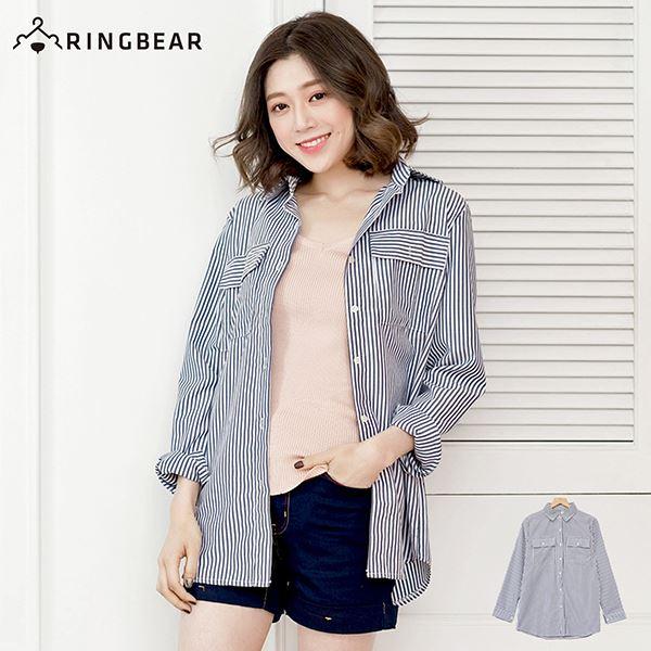 長版襯衫--復古風慵懶OverSize雙口袋直線條立領襯衫/外套(黑XL-5L)-I84眼圈熊中大尺碼