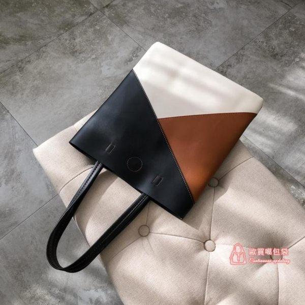 包包女2019新款時尚大容量包韓版撞色單肩手提包簡約大氣軟皮大包