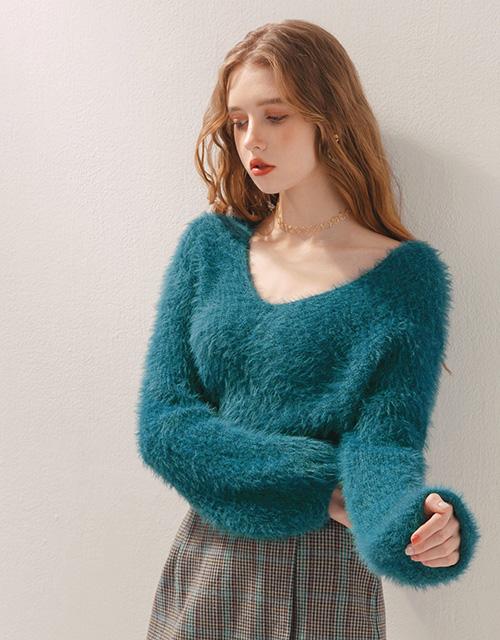 2WAY毛海寬鬆長袖毛衣
