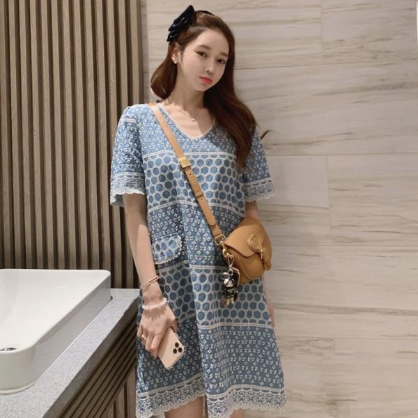 mis564韓國設計,中國製造波希米亞浪漫拼接圖騰蕾絲短袖洋裝顏色:藍色材質:棉