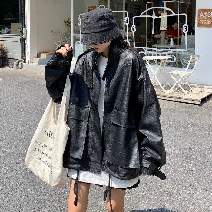 外套高級范自留早秋2020新款bf風夾克上衣寬鬆帥氣皮衣外套女