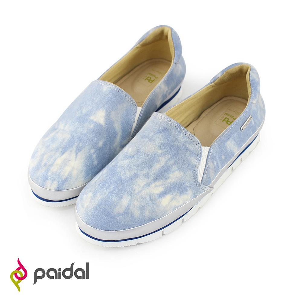 Paidal嘻皮渲染輕運動休閒鞋樂福鞋懶人鞋-淺灰藍