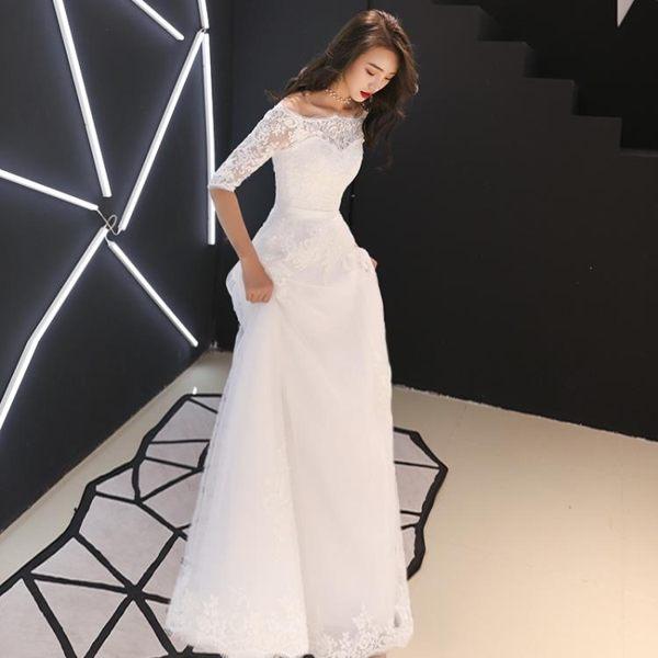 禮服洋裝 新娘輕婚紗禮服一字肩出門紗復古赫本風顯瘦簡單森系超仙 BB奇趣屋
