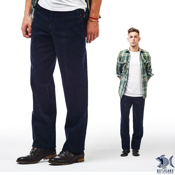 【NST Jeans】黑藍色 復古麂皮拼接 酵洗直筒丹寧褲(中腰) 390(5572) 台製 紳士 男