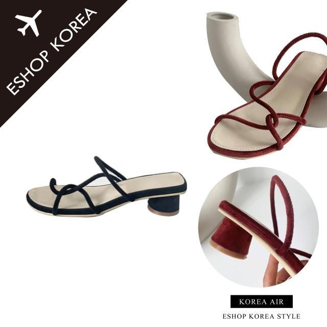 韓國空運【PICM1】絲絨氣質度假羅馬風粗跟綁帶涼鞋