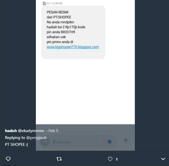 Di Twitter Warganet Pamer Sms Penipuan Kocak