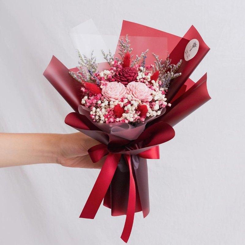 乾燥花/永生花/乾燥花束/畢業花束/母親節花束/新娘捧花/紅色花束