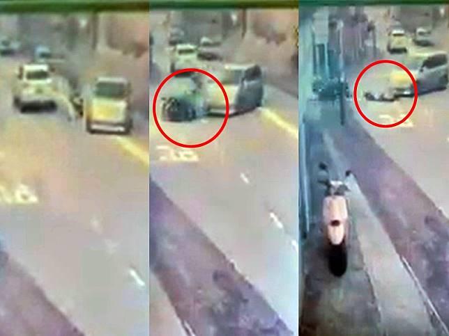「大山聰」高速撞七人車後墮地。謝平影片截圖