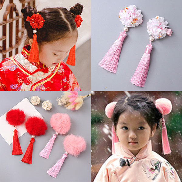 ins 春莉 髮夾 毛球 花 流蘇 包包頭 旗袍 格格 古裝 洋裝 小禮服 過年 新年 喜氣 髮飾 童 中國風