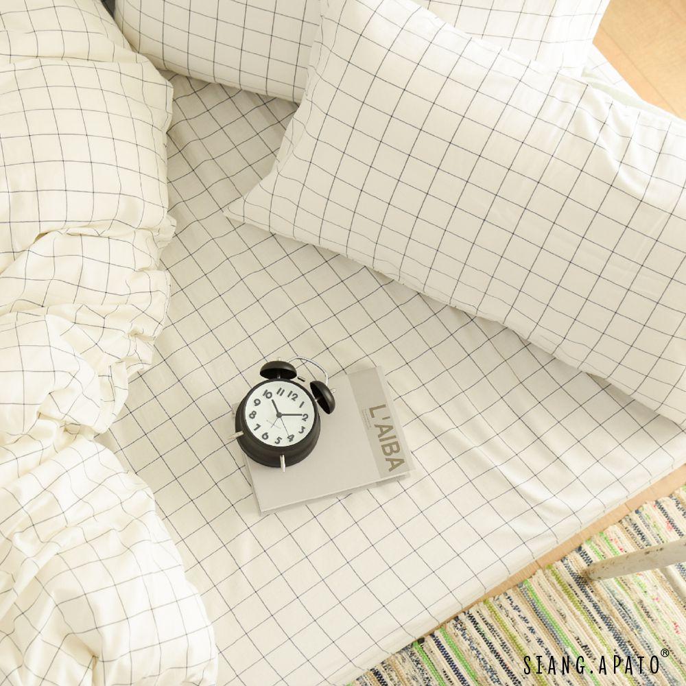床包被套組(薄被套)-加大 / 新疆棉系列 / 大格白床包 x 大格白被套