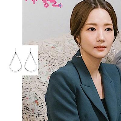 韓劇朴敏英她的私生活韓國925銀鏤空几何耳環