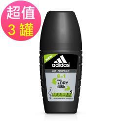 adidas愛迪達 男用六效合一長效制汗爽身滾珠x3罐(40ml/罐)