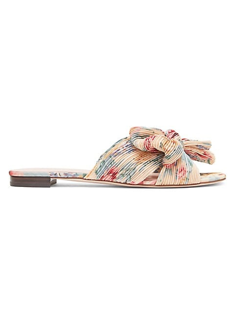 In a pleated finish, these lovely floral sandals are accented with signature knotted detail at the t