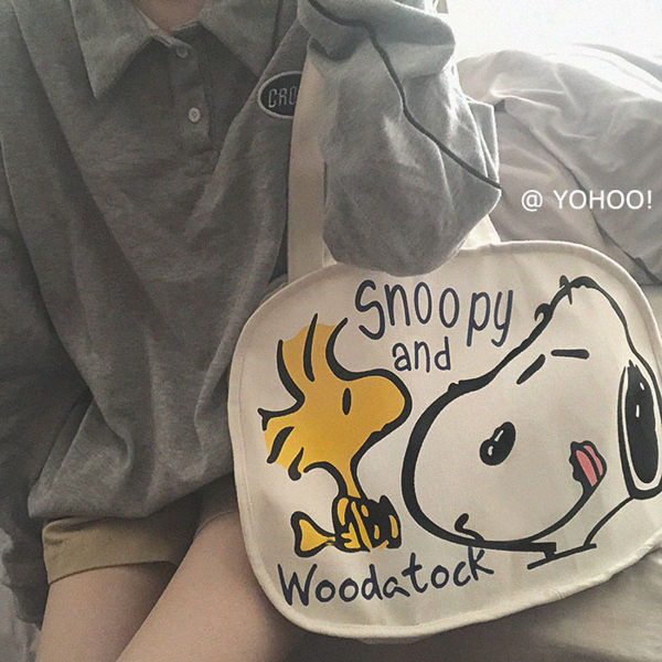 YOHOO! /ins日韓卡通涂鴉可愛史努比插畫側背帆布包購物袋學生女