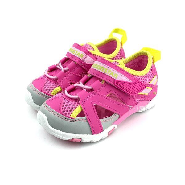 中童 日本 MOONSTAR 月星 CARROT 護趾 透氣 魔鬼氈 運動機能鞋 涼鞋《7+1童鞋》C420 粉色
