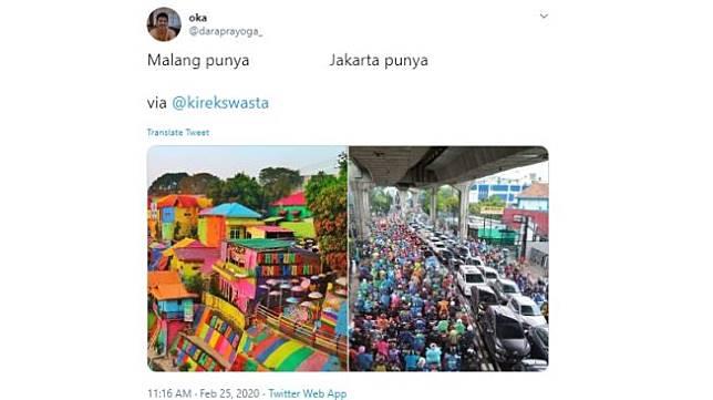 Bandingkan Malang dan Jakarta. (Twitter/@daraprayoga_)