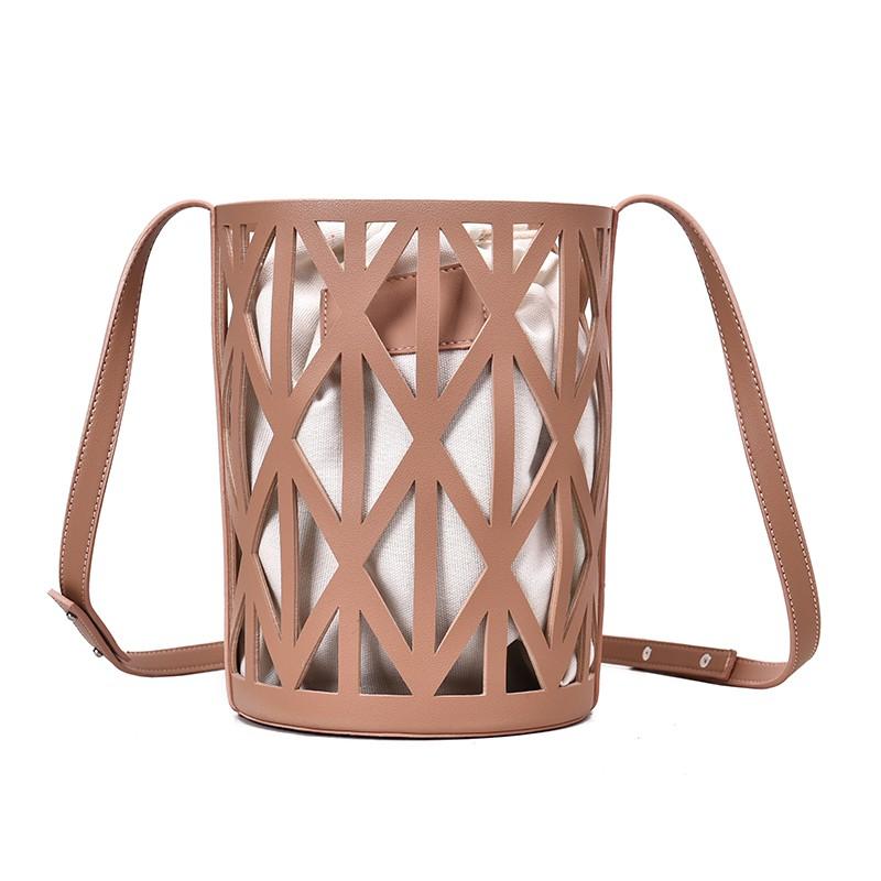NXS 簍空 竹籃 皮革 水桶包 束口包 麻布袋 編織包 斜跨包 側背包 斜背包 帆布包 透視 包包 網紅 正韓 韓國