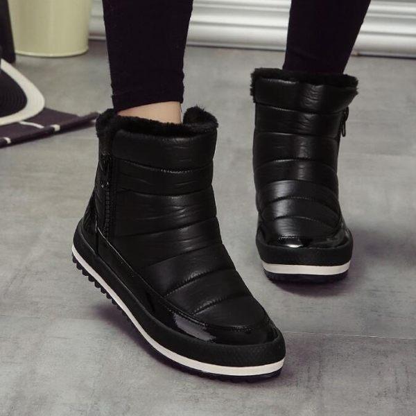 短靴 韓版 刷毛保暖防水厚底毛毛雪靴 裸靴 花漾小姐【現貨】