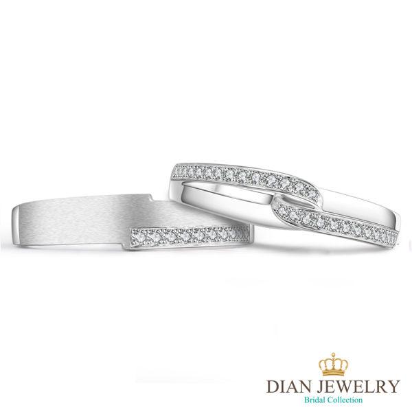 【DIAN 黛恩珠寶】環抱妳心 鑽石結婚對戒(情人鑽石對戒 系列)