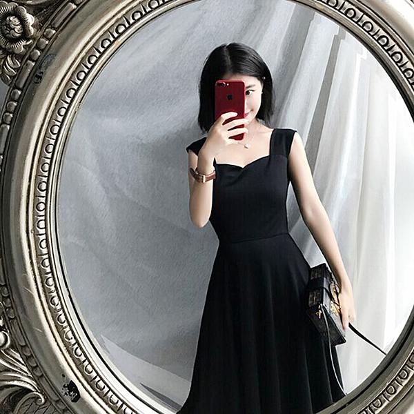 無袖洋裝連身裙女夏新品正韓高腰氣質優雅大擺吊帶無袖黑色中長裙全館免運