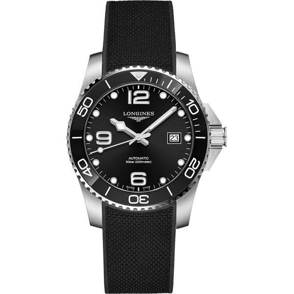 原廠公司貨.瑞士製 HydroConquest系列,防水高達300米 可旋式陶瓷錶圈,保護式安全錶冠
