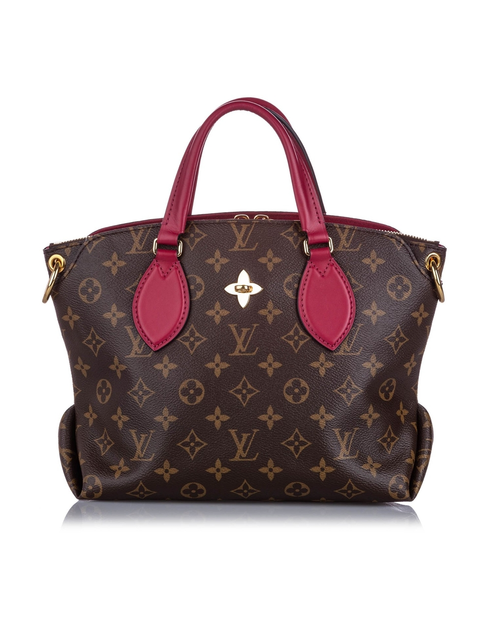 Product Details: Brown Louis Vuitton Monogram Flower Zipped Tote PM Bag. The Flower Zipped Tote feat