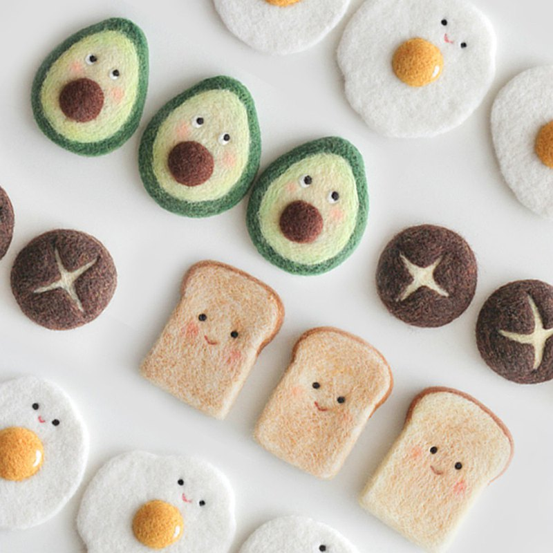 羊毛氈手作 早餐系列 吐司香菇荷包蛋牛油果 原創手工磁鐵飾品