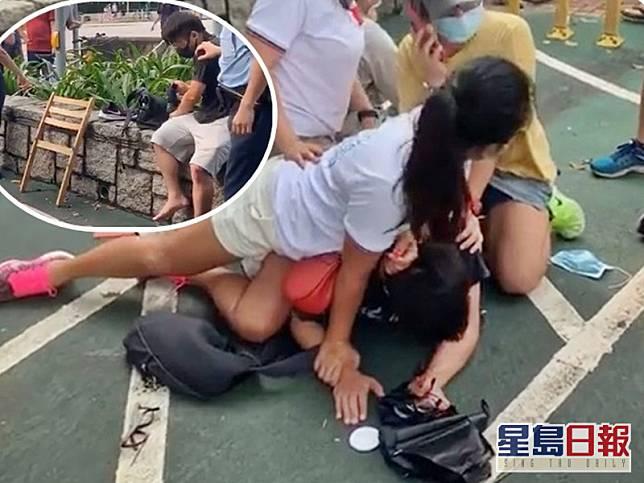 男子被制服。小圖為被捕男子及涉案木凳。「天水連線」fb截圖