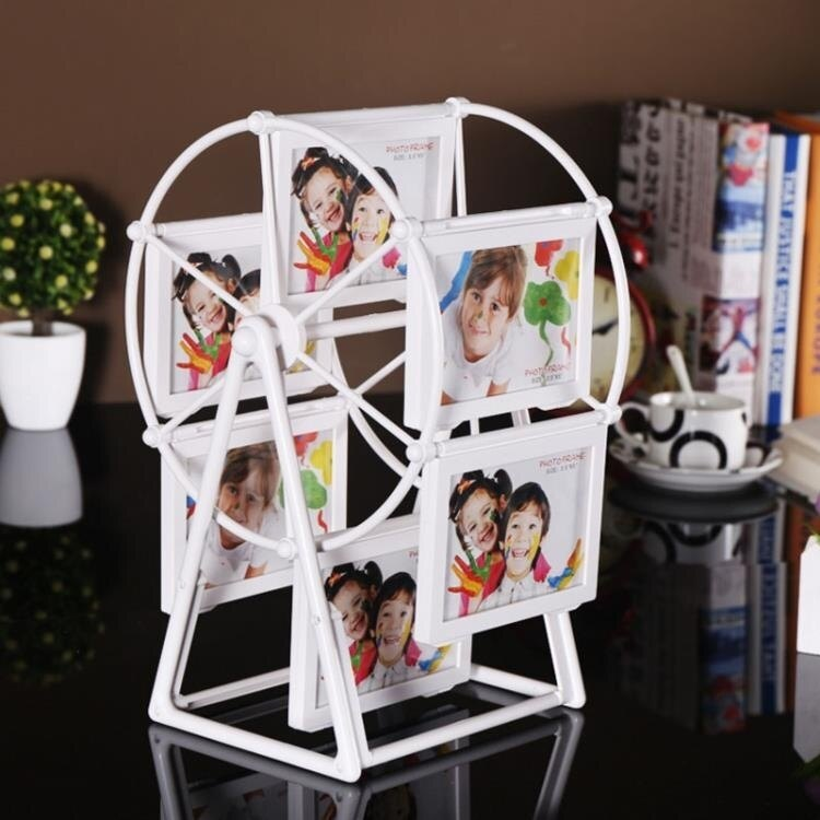 現代簡約摩天輪相框擺臺5寸7寸旋轉大風車相片框兒童組合相架YJT夏末之戀