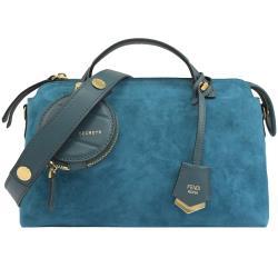 FENDI 8BL124 裝飾鉚釘麂皮三層手提兩用包.藍綠