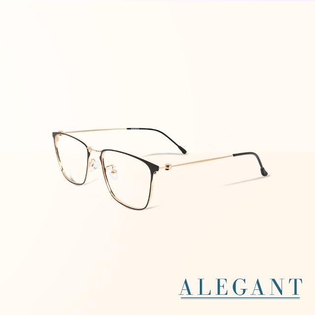 【ALEGANT】法式優雅復古輕量鈦金屬質感方框UV400濾藍光眼鏡