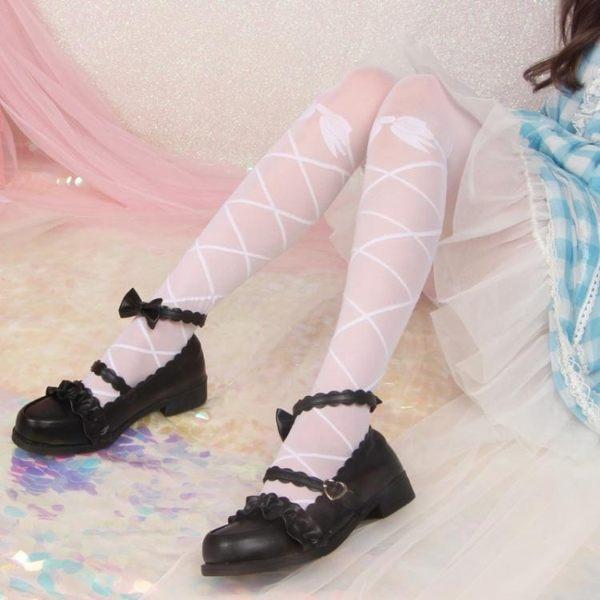 日系蕾絲洛麗塔襪子女網紗打底連褲襪軟妹學生lolita絲襪長筒夏薄