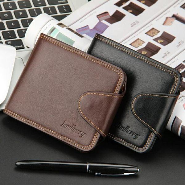 多卡位男士短款錢包男零錢包 歐美商務橫款學生錢夾帶扣內置拉鏈 美芭