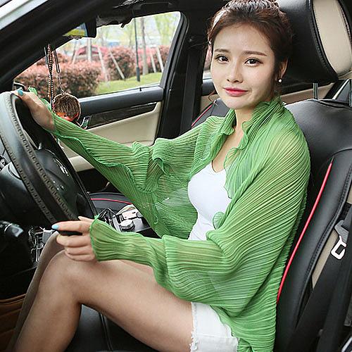 韓版夏季百變圍巾女開車騎車防曬披肩女士雪紡長款衣衫外套女披風