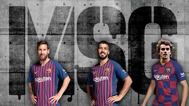 Trio MSG milik Barcelona; Lionel Messi (kiri), Luis Suarez (tengah), dan Antoine Griezmann. [foto: Marca]