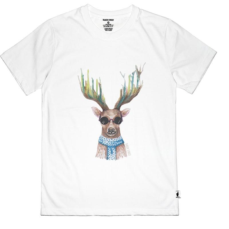 【英國 BAKER STREET 貝克街】中性版 - 純棉短袖T恤 - 水彩酷鹿