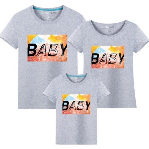 ★韓版MH-S1622《字母BABY》短袖親子裝♥情侶裝@三件組♥多色可選♥