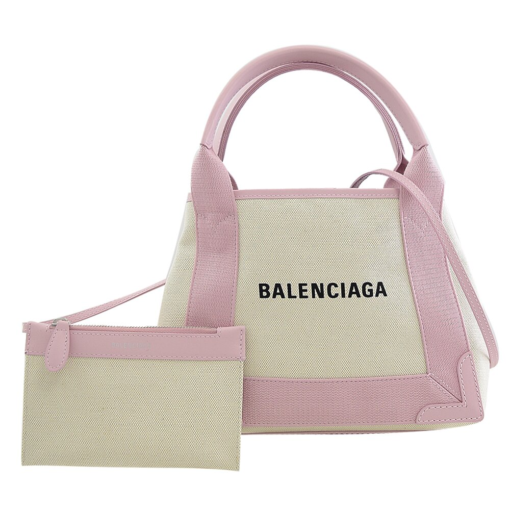 BALENCIAGA 巴黎世家 專櫃商品 390346 NAVY CABAS XS 麻布手提兩用包.粉邊