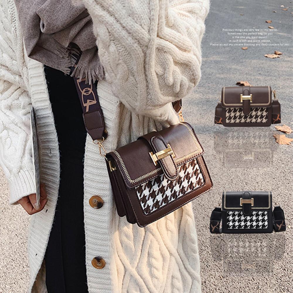 時髦奢華感 精選約會必備 襯托出女性優雅的氣質品味 細緻皮革讓整體質感更加分 品名英倫時尚寬背帶千鳥格飾扣小方包 貨號kdb-7968 顏色黑色/咖啡 材質pu 尺寸18.5x7x14.5(cm) 重
